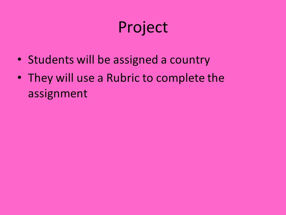 Project Students will be assigned a country