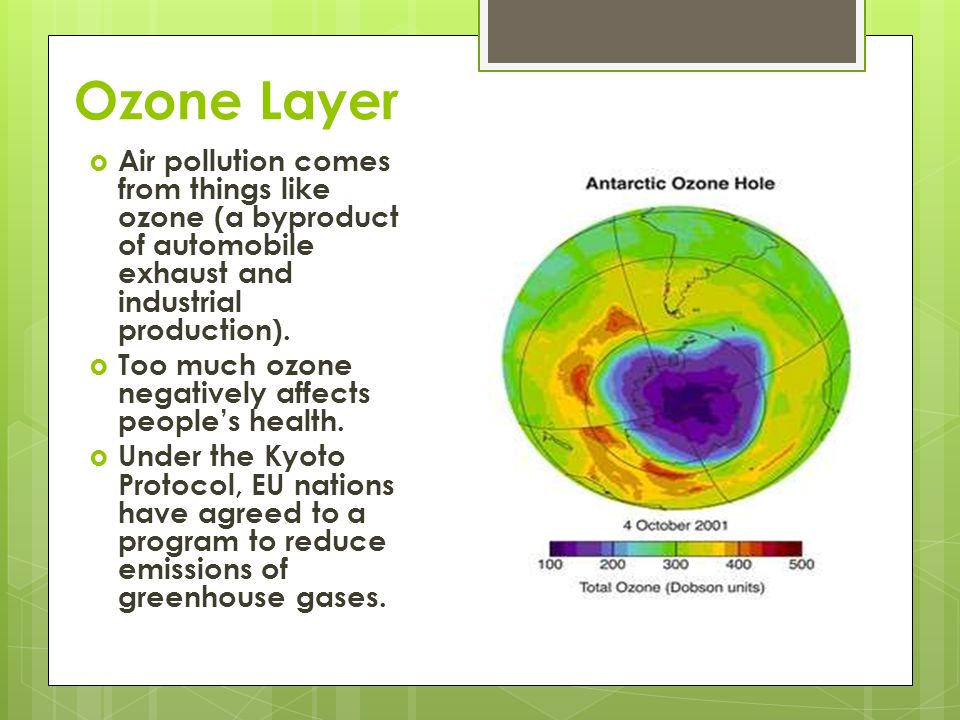 Ozone Layer Air pollution comes from things like ozone (a byproduct of automobile exhaust and industrial production).
