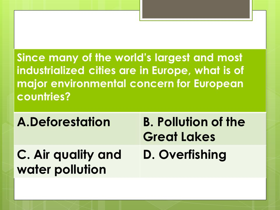 Review Deforestation B. Pollution of the Great Lakes