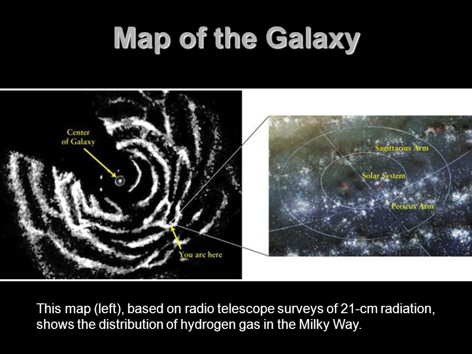 Map of the Galaxy FIGURE 15-9 A Map of the Galaxy This map, based on radio telescope surveys of 21-cm radiation,
