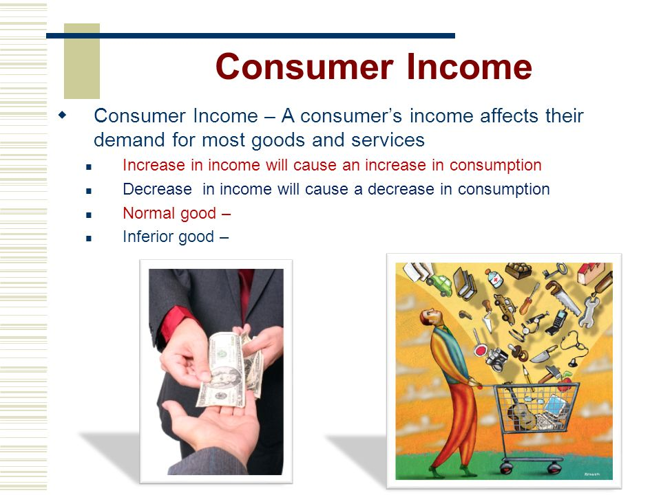 Consumer Income Consumer Income – A consumer's income affects their demand for most goods and services.
