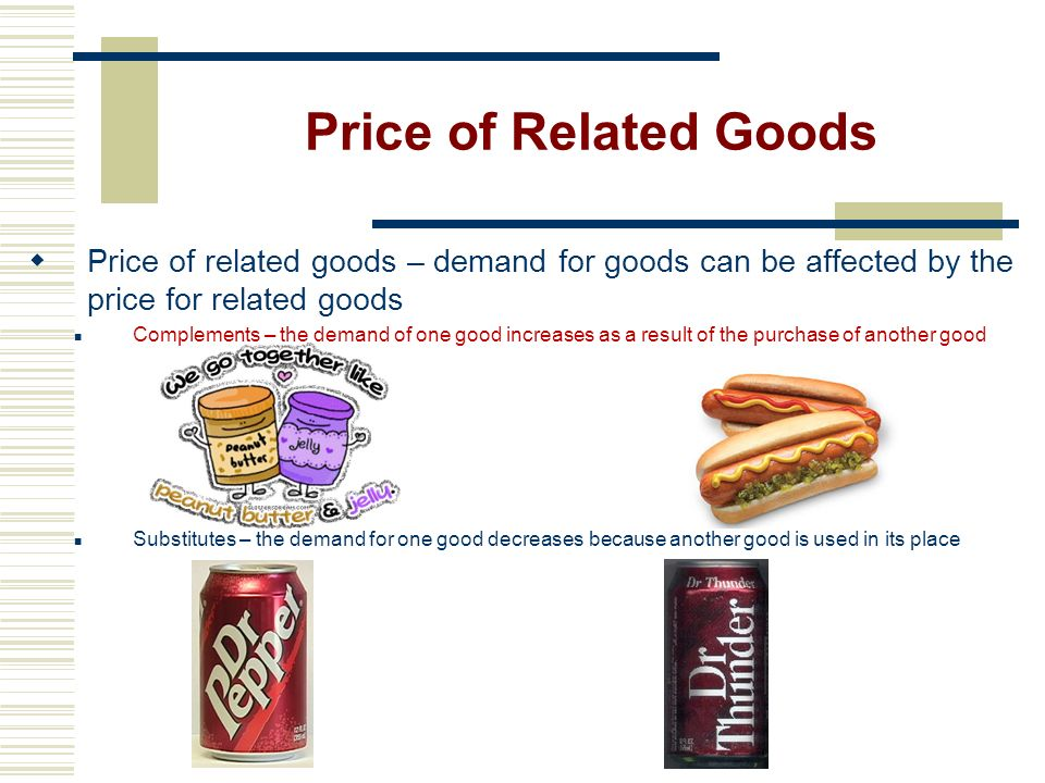 Price of Related Goods Price of related goods – demand for goods can be affected by the price for related goods.