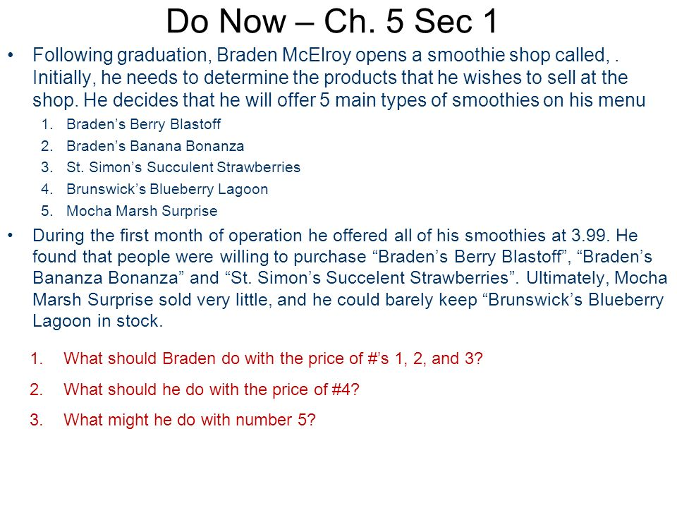 Do Now – Ch. 5 Sec 1