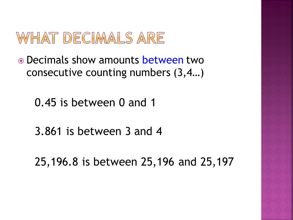 What decimals are 0.45 is between 0 and 1 3.861 is between 3 and 4
