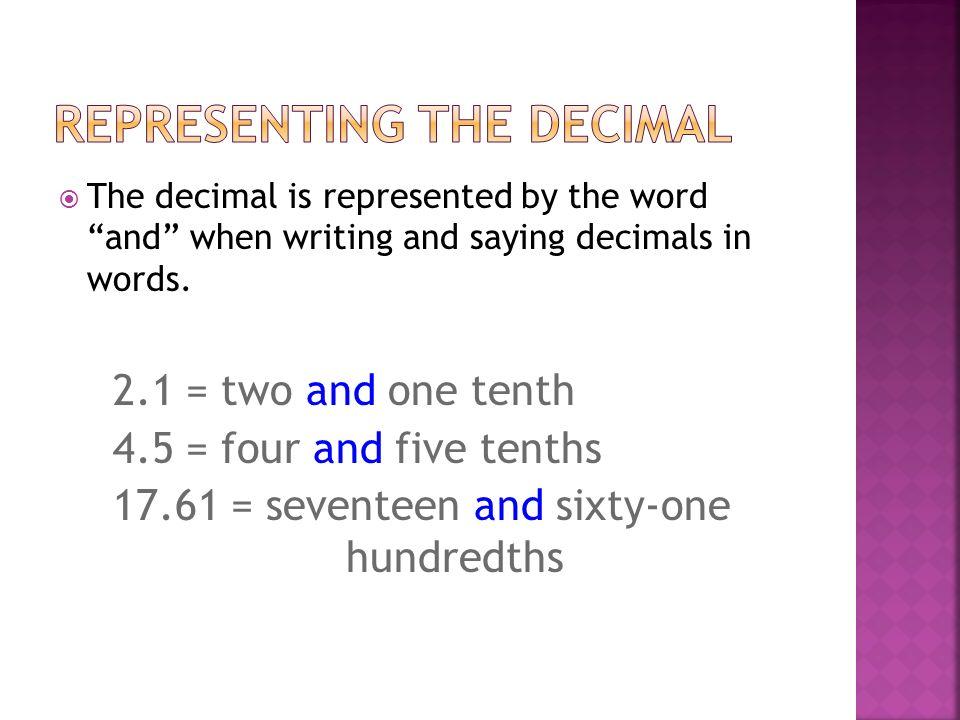 Representing the decimal