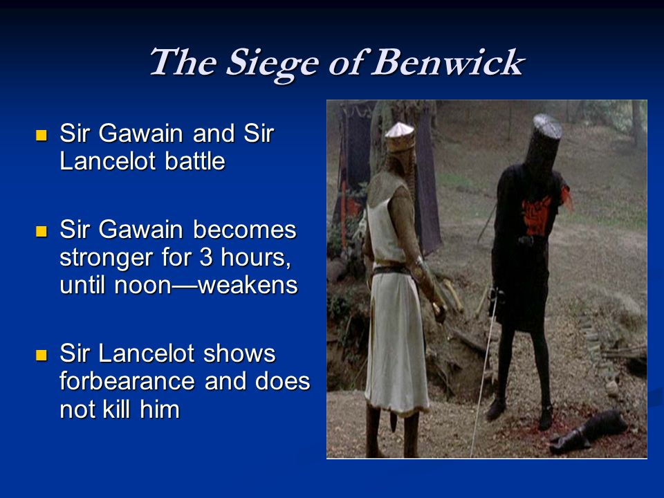 The Siege of Benwick Sir Gawain and Sir Lancelot battle