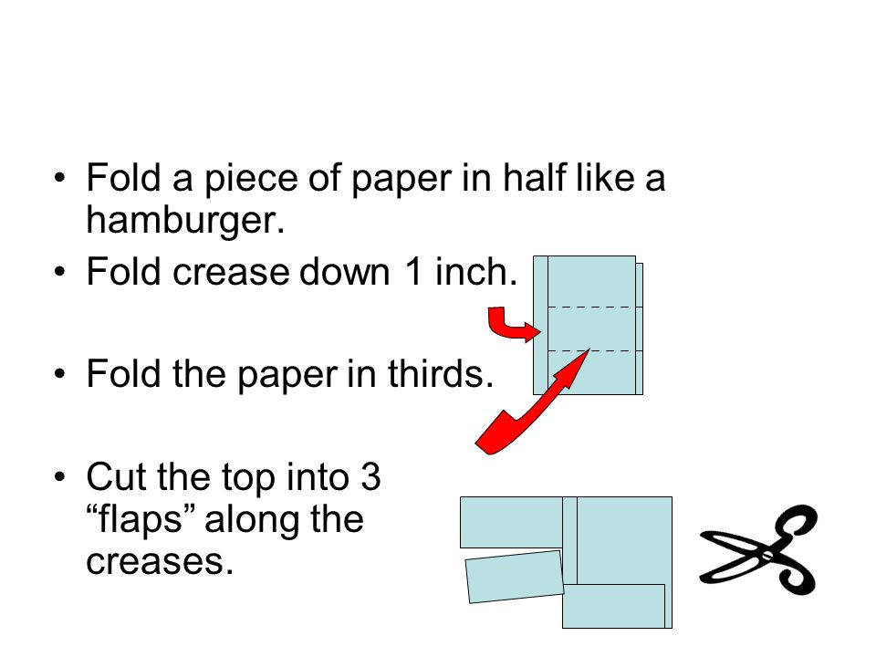 Fold a piece of paper in half like a hamburger.