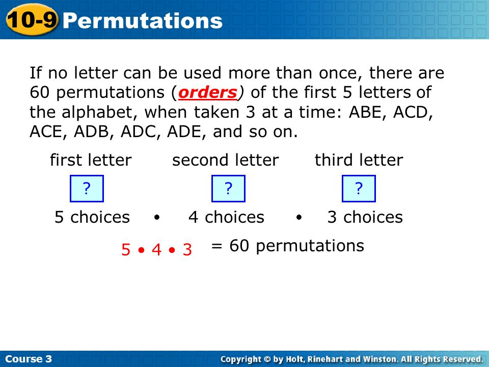 Course 3 10-9. Permutations.