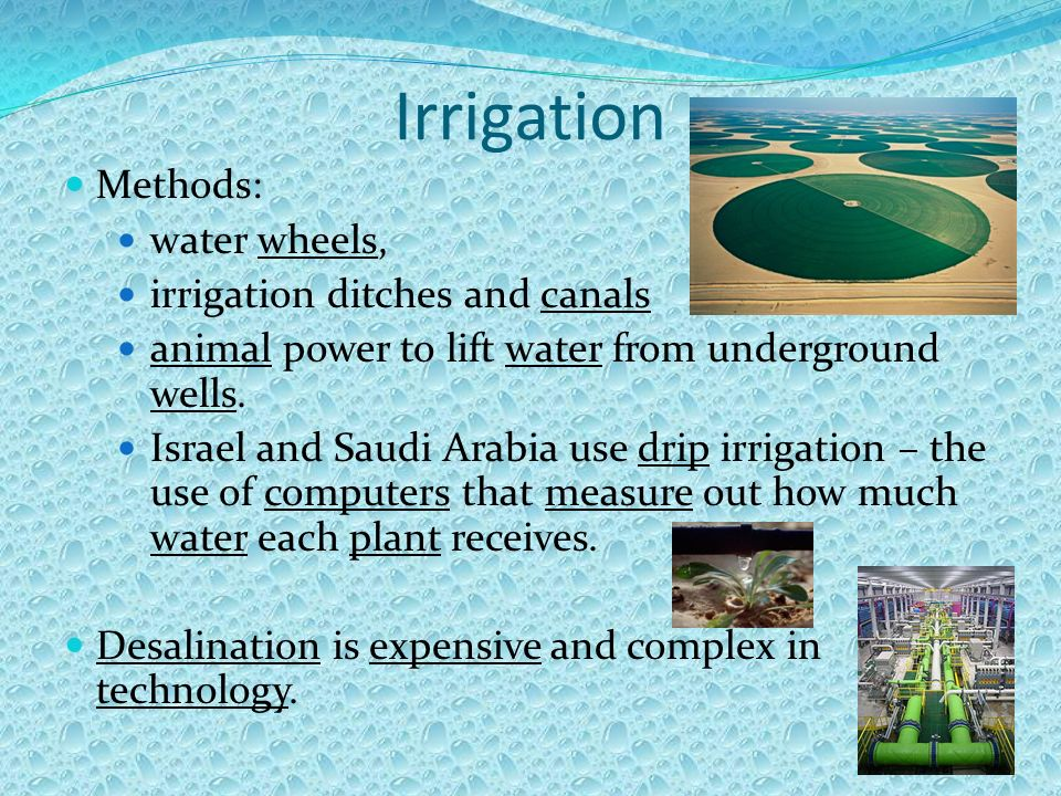 Irrigation Methods: water wheels, irrigation ditches and canals