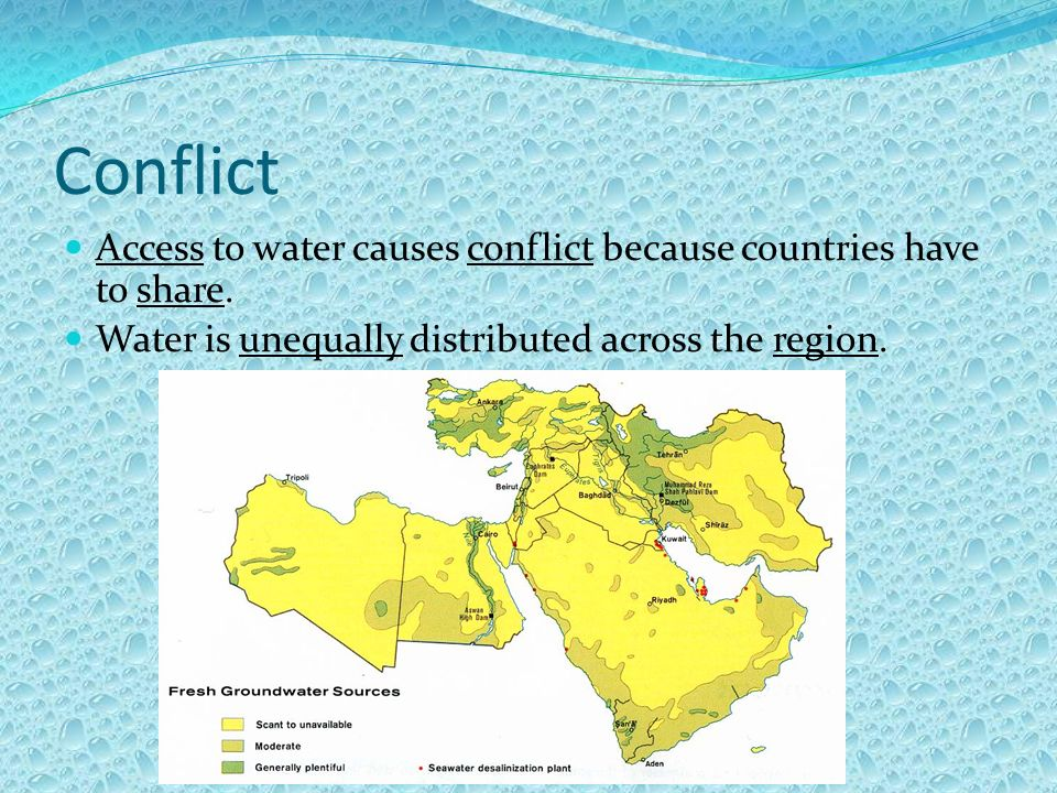 Conflict Access to water causes conflict because countries have to share.