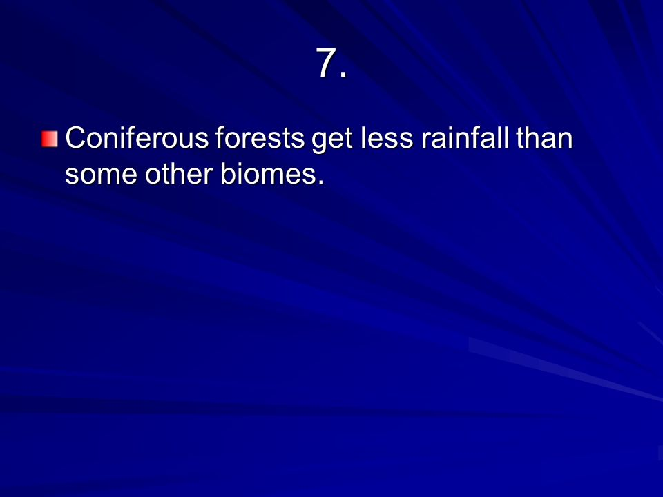 7. Coniferous forests get less rainfall than some other biomes.
