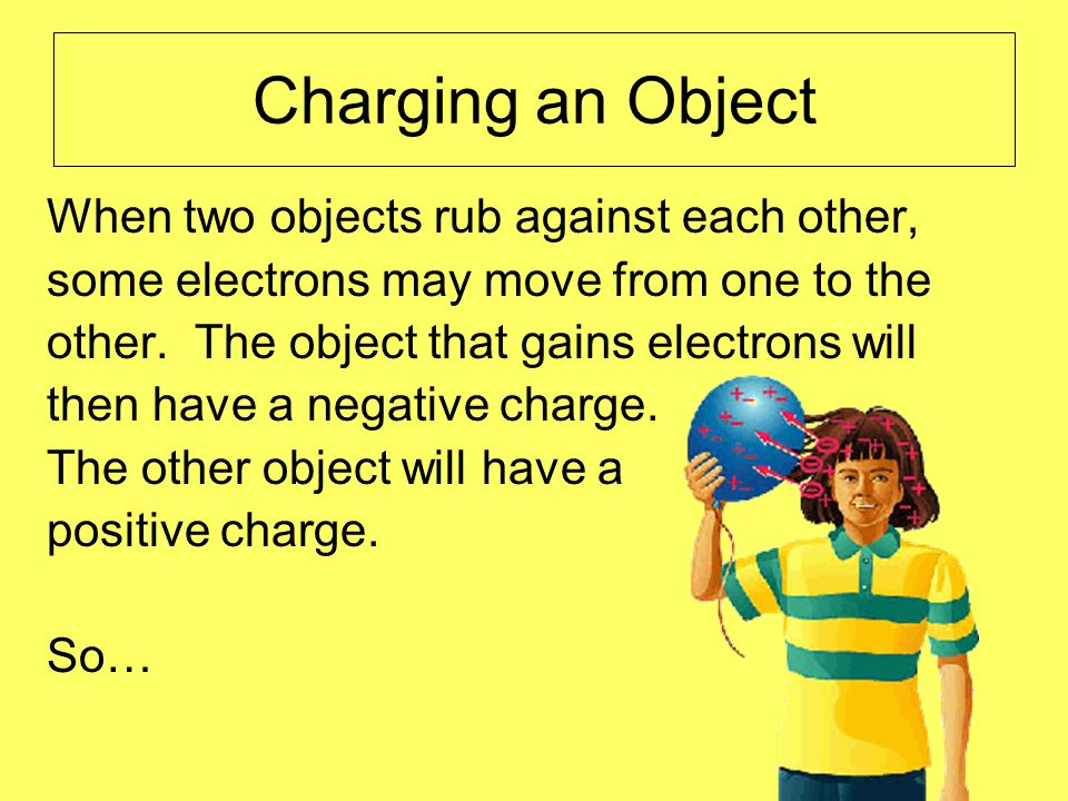 Charging an Object When two objects rub against each other,