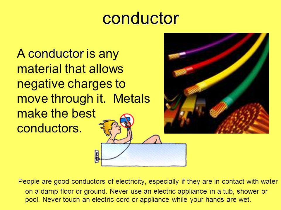conductor A conductor is any material that allows negative charges to move through it. Metals make the best conductors.