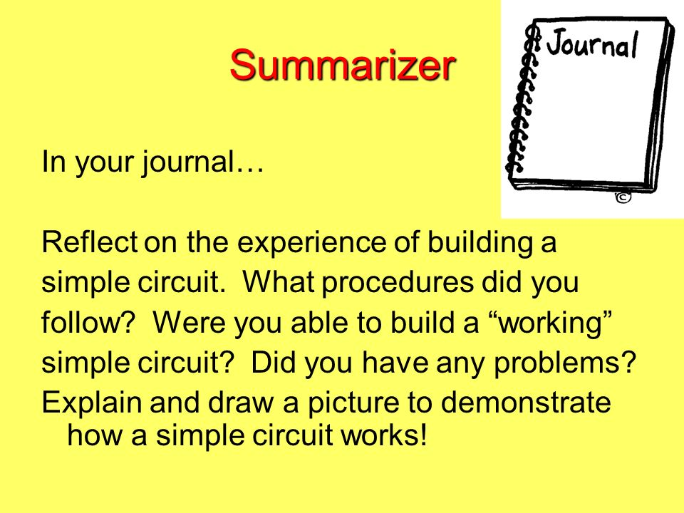 Summarizer In your journal… Reflect on the experience of building a