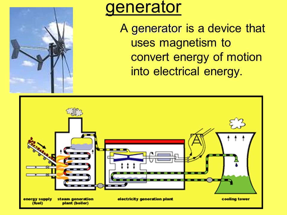 generator A generator is a device that uses magnetism to convert energy of motion into electrical energy.