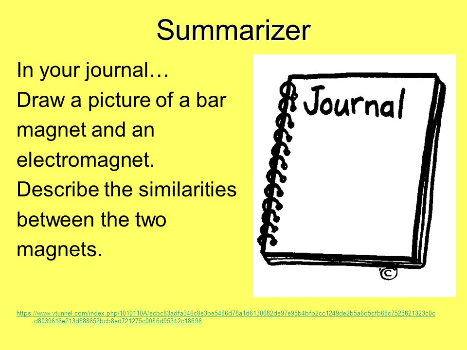 Summarizer In your journal… Draw a picture of a bar magnet and an