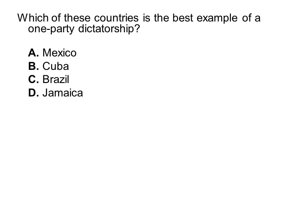 Which of these countries is the best example of a one-party dictatorship