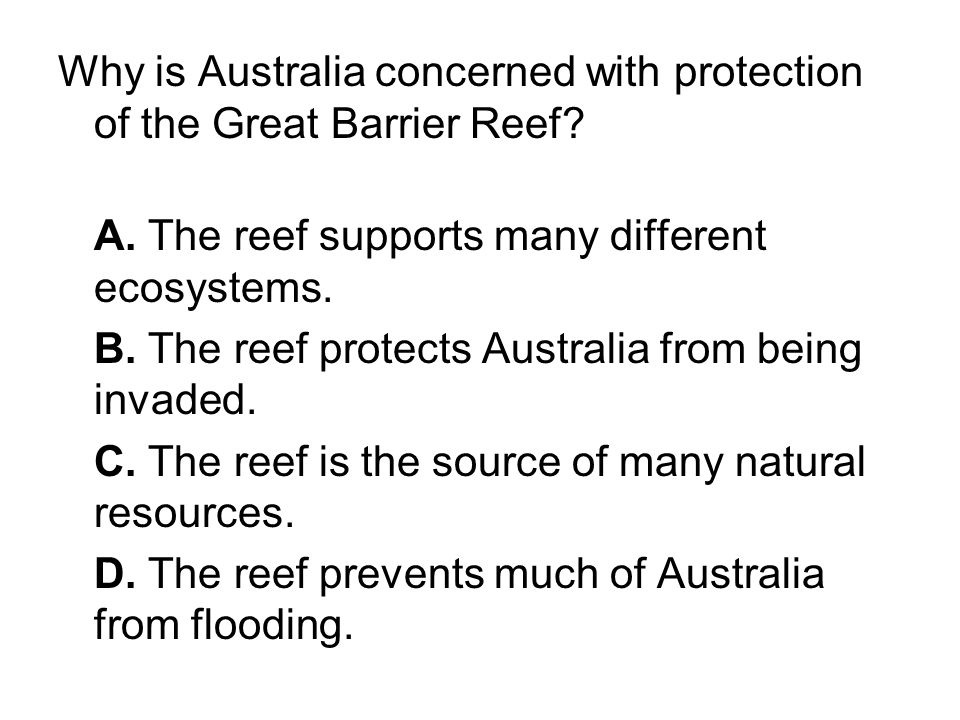Why is Australia concerned with protection of the Great Barrier Reef