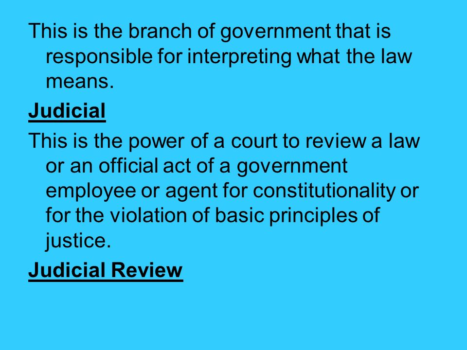This is the branch of government that is responsible for interpreting what the law means.
