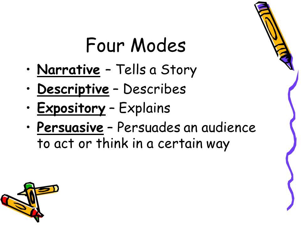 Four Modes Narrative – Tells a Story Descriptive – Describes