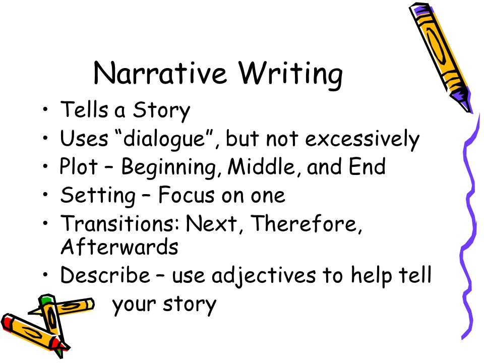 Narrative Writing Tells a Story Uses dialogue , but not excessively
