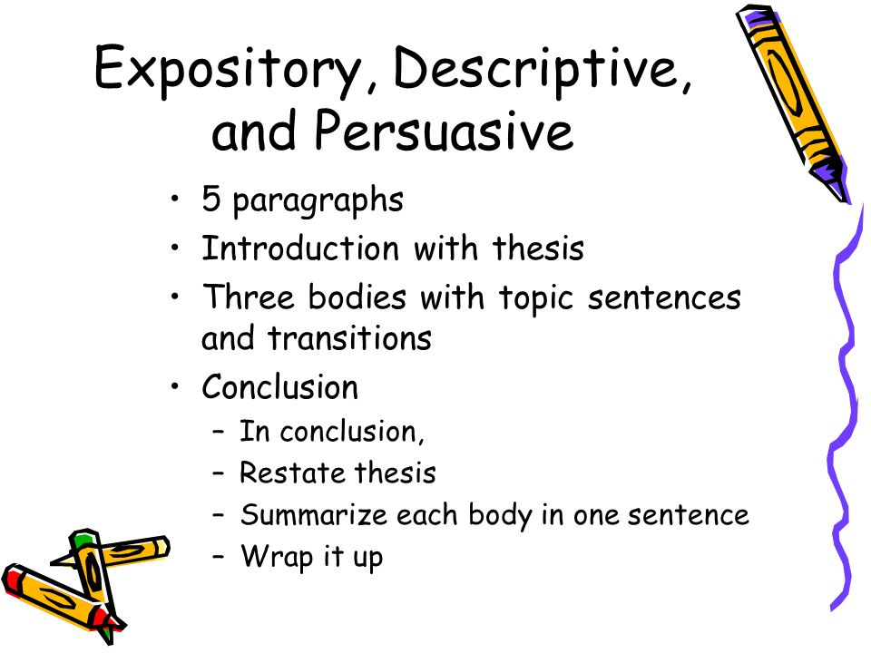 Expository, Descriptive, and Persuasive