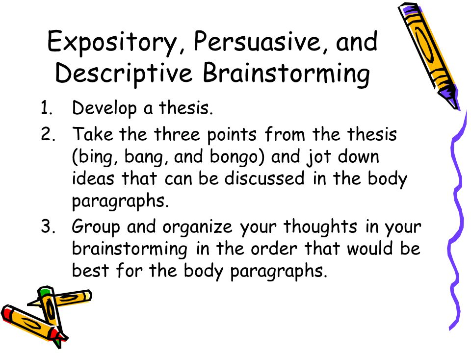 Expository, Persuasive, and Descriptive Brainstorming