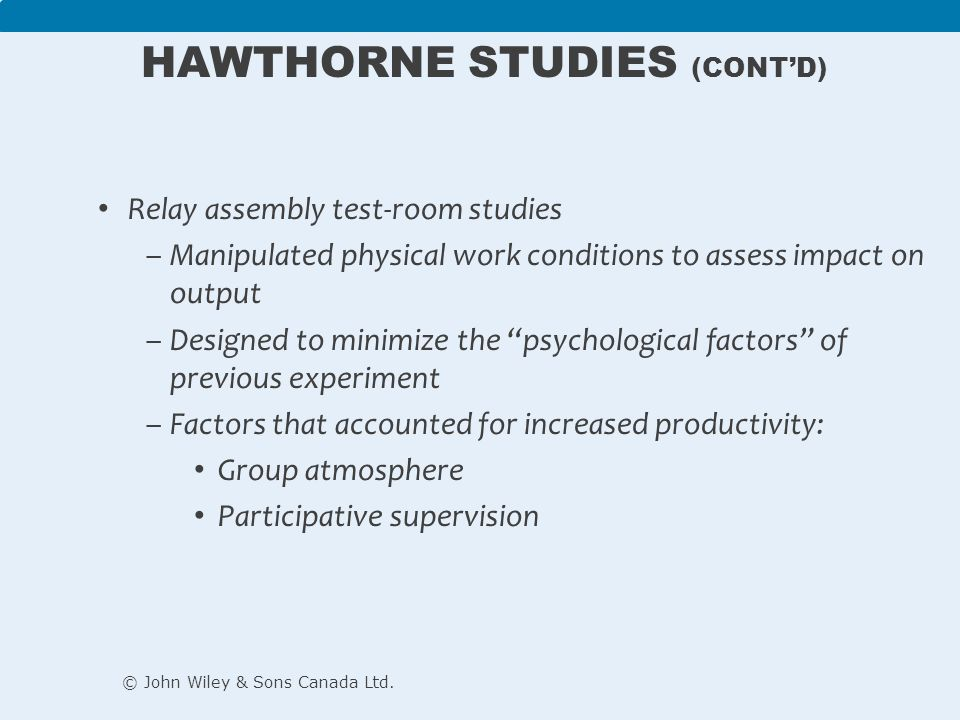 hawthorne studies The hawthorne studies is one of the most frequently debated phenomenons in modern work management evolved in the 1930's this represents a progression from pure scientific management.