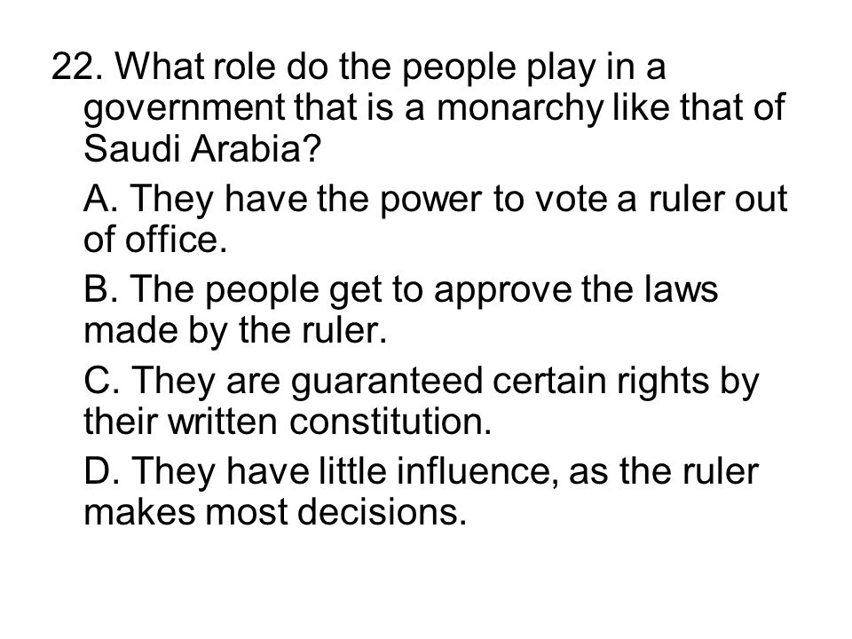 22. What role do the people play in a government that is a monarchy like that of Saudi Arabia