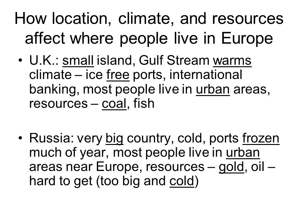 How location, climate, and resources affect where people live in Europe