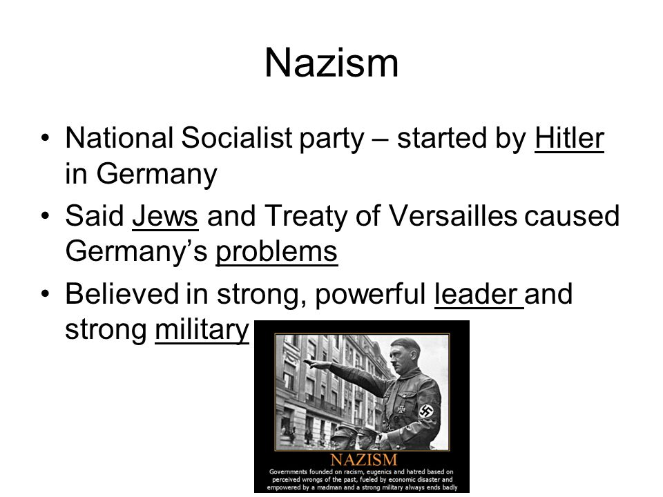 Nazism National Socialist party – started by Hitler in Germany