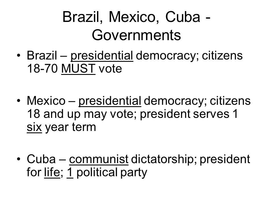 Brazil, Mexico, Cuba - Governments