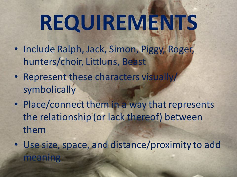 REQUIREMENTSInclude Ralph, Jack, Simon, Piggy, Roger, hunters/choir, Littluns, Beast. Represent these characters visually/ symbolically.