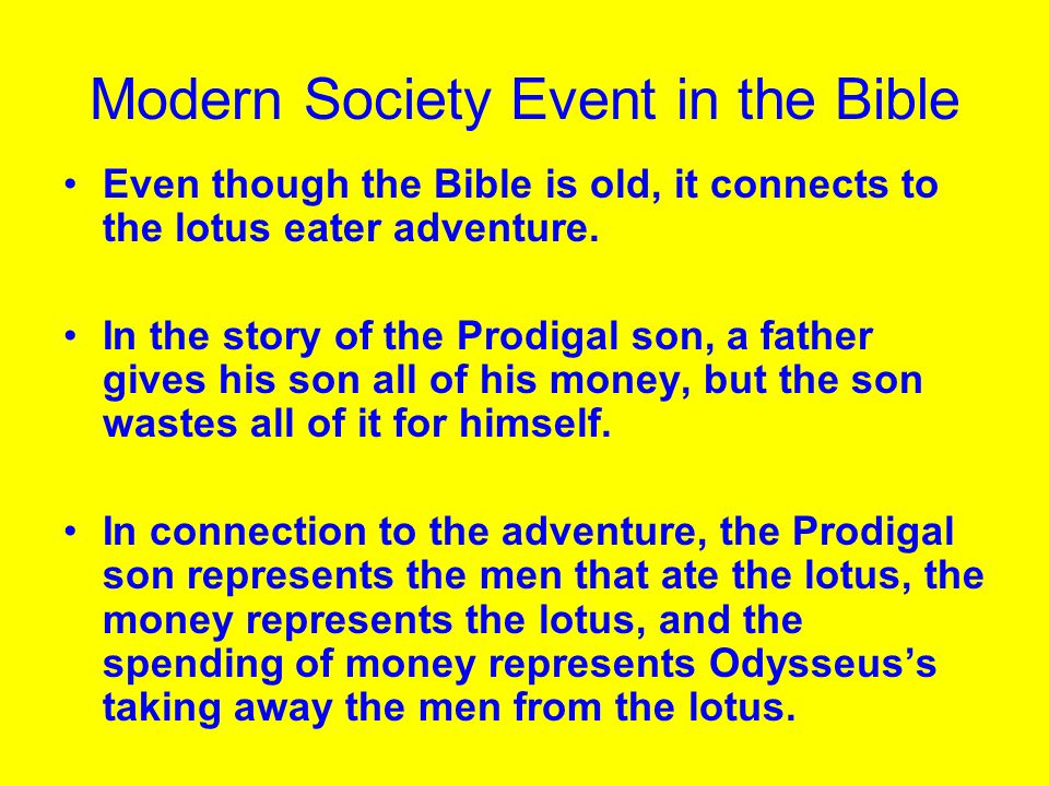 Modern Society Event in the Bible