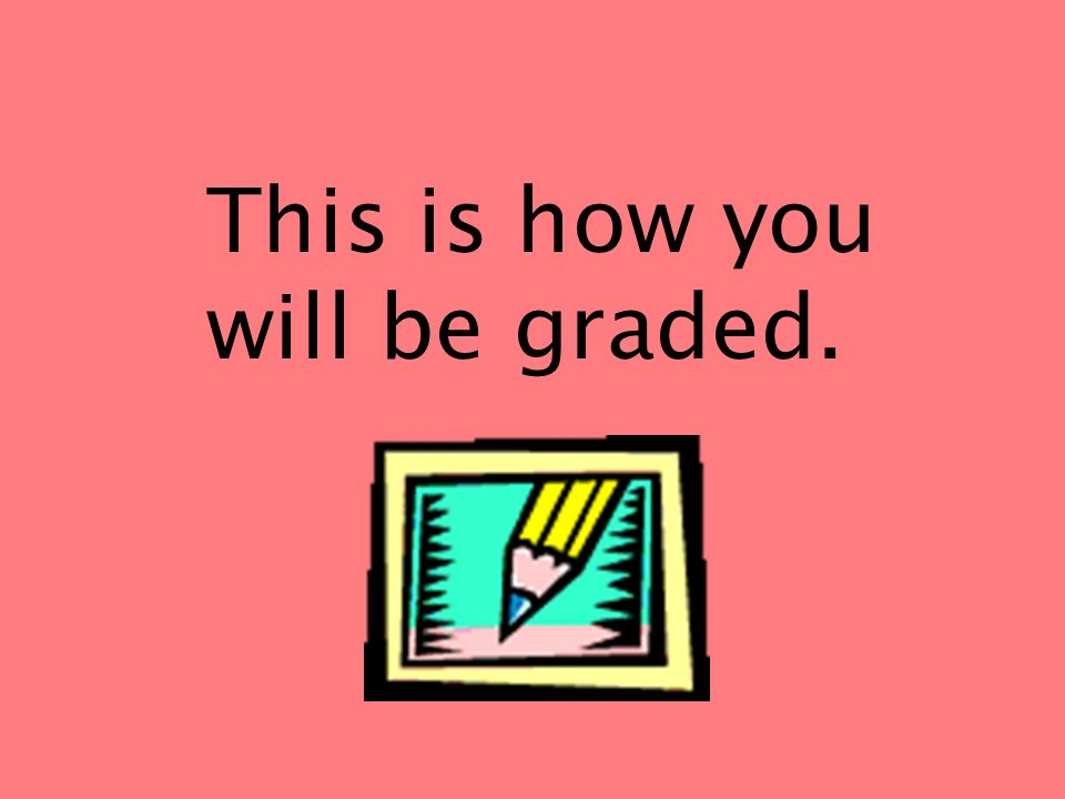 This is how you will be graded.