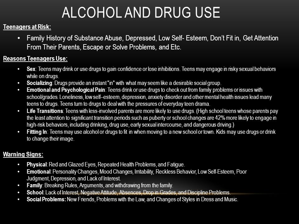 teenage sex drugs and alcohol use Many young people drink alcohol  by age 15, about 33 percent of teens have had  on drug use and health  how can underage drinking be prevented alcohol.