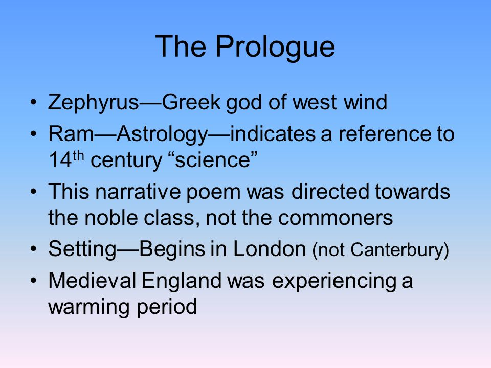The Prologue Zephyrus—Greek god of west wind