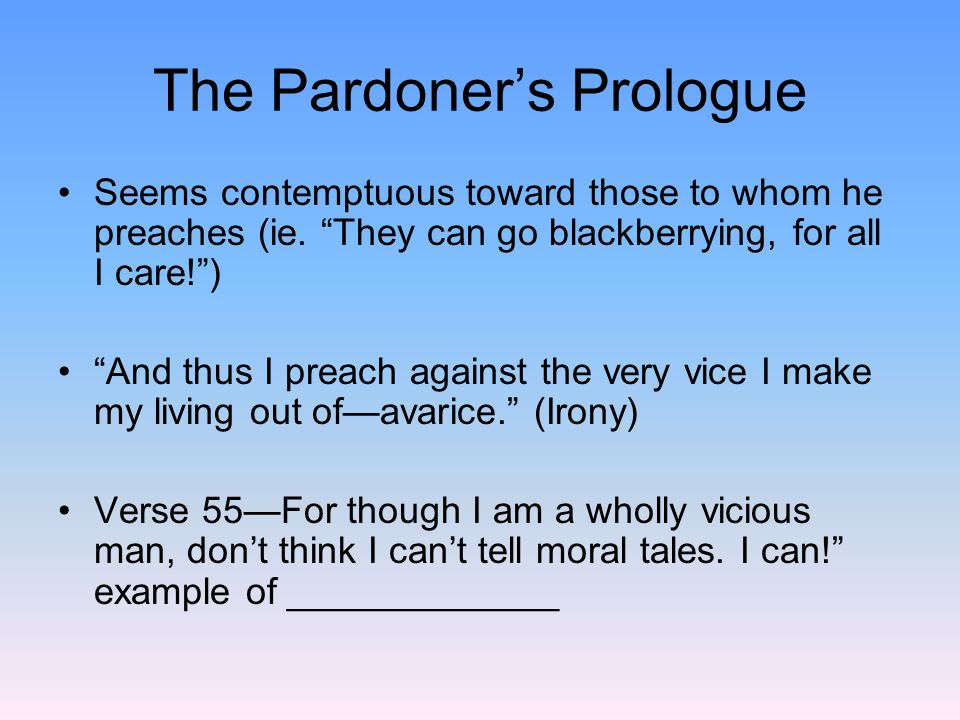 The Pardoner's Prologue