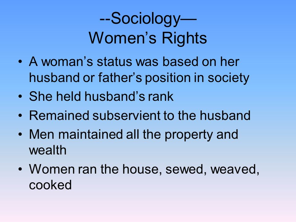 --Sociology— Women's Rights