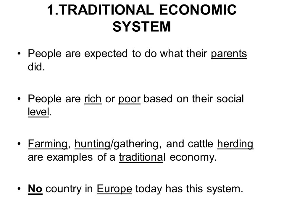 1.TRADITIONAL ECONOMIC SYSTEM