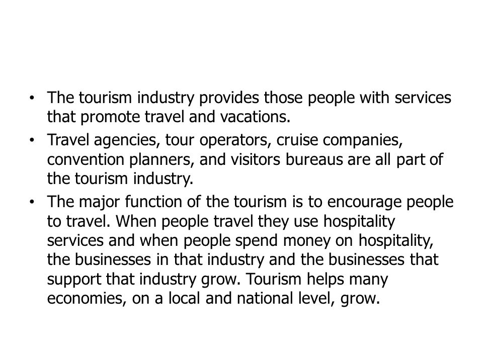 The tourism industry provides those people with services that promote travel and vacations.
