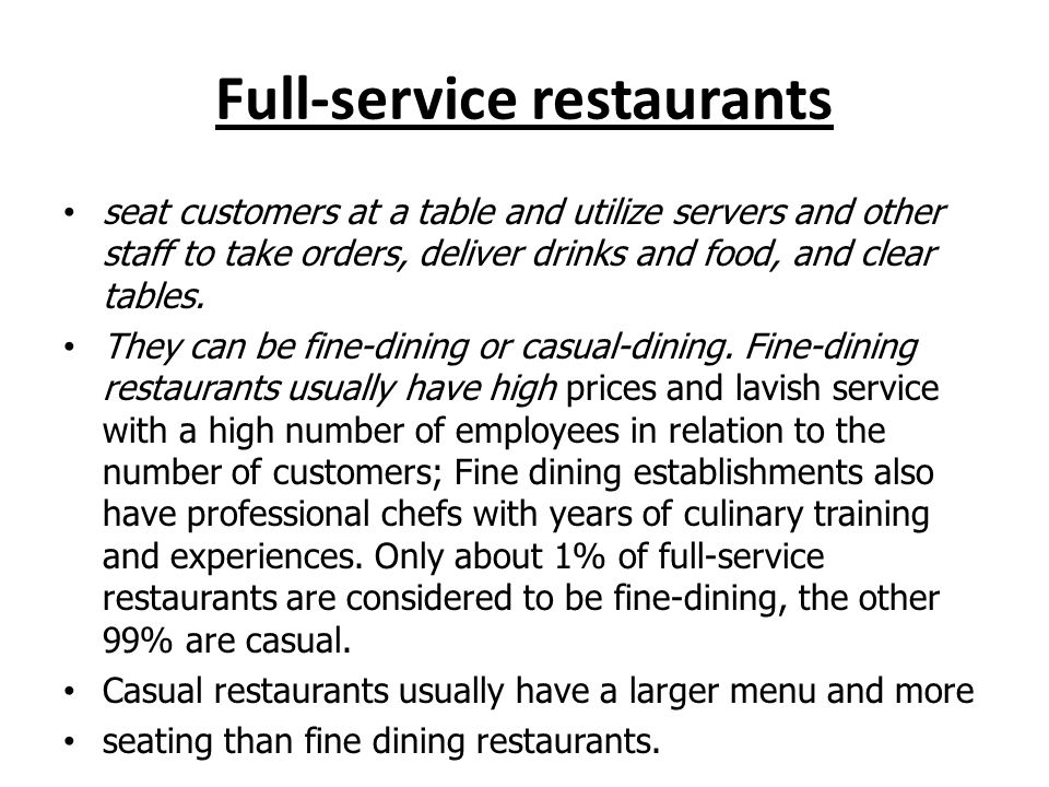 Full-service restaurants