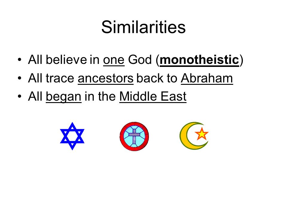 Similarities All believe in one God (monotheistic)