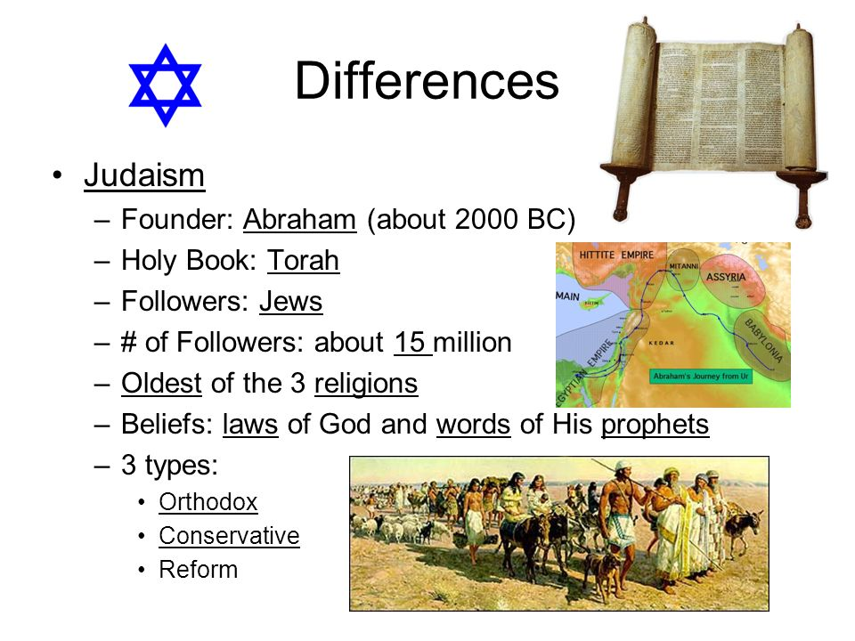 Differences Judaism Founder: Abraham (about 2000 BC) Holy Book: Torah