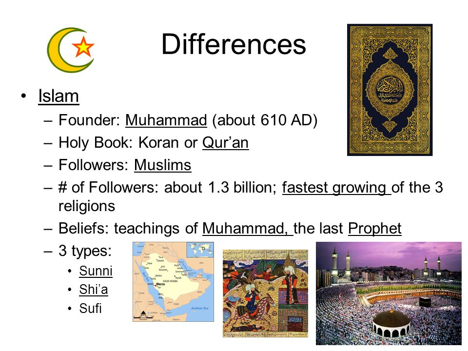 Differences Islam Founder: Muhammad (about 610 AD)