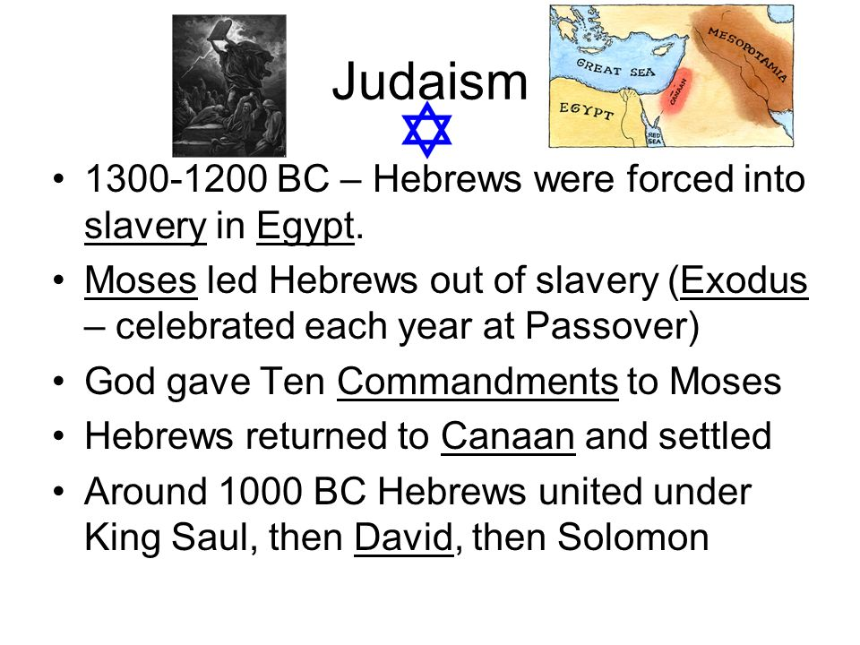 Judaism 1300-1200 BC – Hebrews were forced into slavery in Egypt.