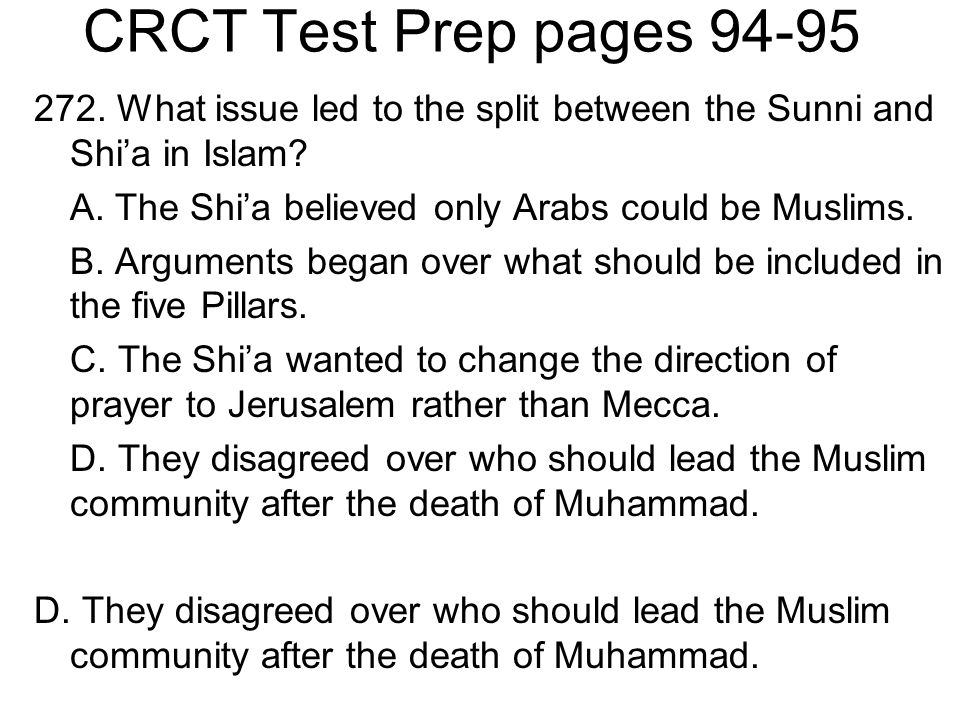 CRCT Test Prep pages 94-95