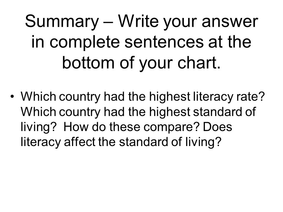 Summary – Write your answer in complete sentences at the bottom of your chart.