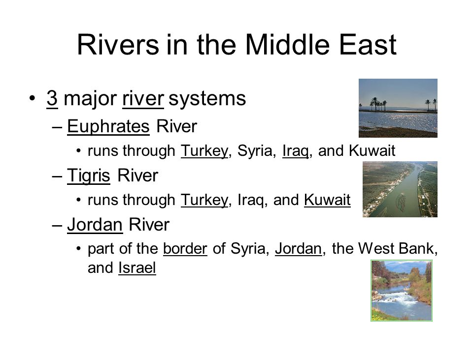 Rivers in the Middle East