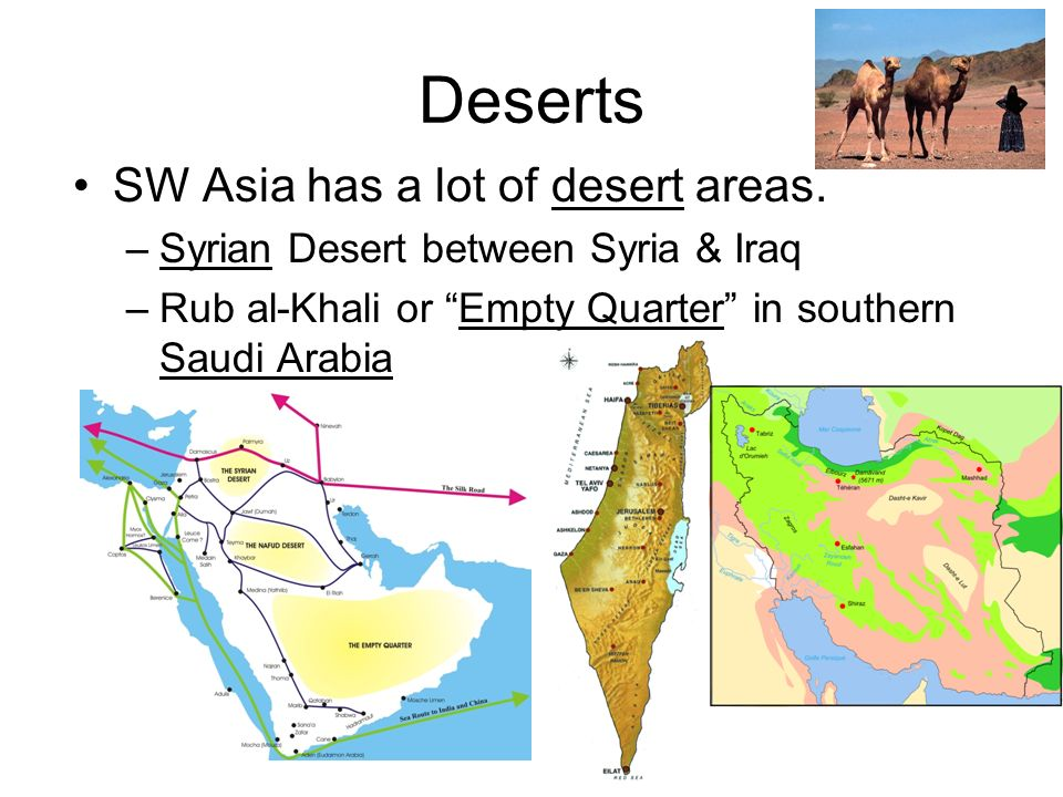 Deserts SW Asia has a lot of desert areas.